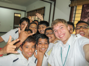 Participant Anthony Bruno with kids in India